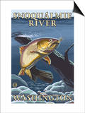 Trout Fishing Cross-Section, Snoqualmie River, Washington Kunst von  Lantern Press