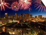 Celebration with Exploding Fireworks over Skyline of Boston, Massachusetts Posters