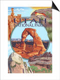 Utah National Parks - Delicate Arch Center Art by  Lantern Press