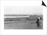 Copalis Beach, Washington - People Digging for Razor Clams Art by  Lantern Press