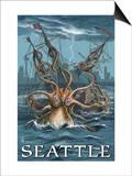 Kraken Attacking Ship - Seattle Posters
