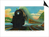 New York - 20th Century Limited Train on East Bank of Hudson River Near West Point Prints by  Lantern Press