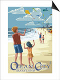 Ocean City, Maryland - Kite Flyers Prints by  Lantern Press