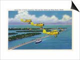 Florida - Planes Flying over Causeway, Miami Beach Kunstdruck von  Lantern Press