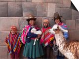 South America, Peru, Cusco. Quechua People in Front of An Inca Wall, Holding a Lamb and a Llama Posters by Alex Robinson
