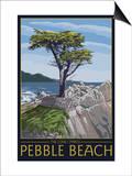 Pebble Beach, California - Lone Cypress Tree Prints by  Lantern Press