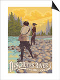 Deschutes River - Bend, Oregon - Women Fishing Prints by  Lantern Press