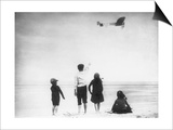 Children Watching Louis Bleriot Flying Plane Photograph - Calais, France Poster by  Lantern Press