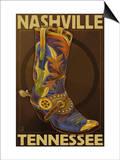 Nashville, Tennessee - Boot Print by  Lantern Press