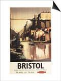 Bristol, England - Clifton Suspension Bridge and Boats British Rail Poster Poster by  Lantern Press