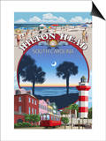 Hilton Head, South Carolina - Montage Prints by  Lantern Press