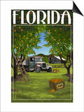 Florida - Orange Grove with Truck Prints by  Lantern Press