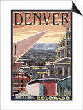 Denver, Colorado - Skyline View in Snow Print by  Lantern Press