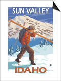 Skier Carrying Snow Skis, Sun Valley, ID Art