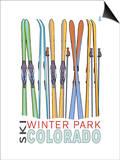 Winter Park, Colorado - Skis in Snow Prints by  Lantern Press