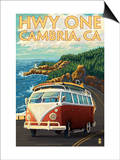 Cambria, California - Highway One Coast, c.2009 Prints by  Lantern Press