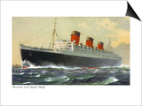 View of Cunard Ocean Liner Queen Mary Art by  Lantern Press