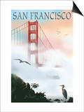 Golden Gate Bridge in Fog - San Francisco, California Posters by  Lantern Press