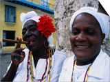 Black Women in White Clothing Pose for Tourists, Havana, Cuba Prints by Dominic Bonuccelli