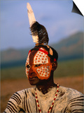 Portrait of a Karo Man with Elaborate Body Painting, Kolcho, Ethiopia Prints by Ariadne Van Zandbergen