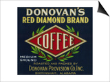 Donovan's Coffee Label - Birmingham, AL Láminas por  Lantern Press