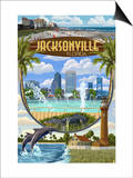 Jacksonville, Florida - Montage Scenes Prints by  Lantern Press