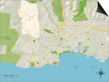 Political Map of Santa Cruz, CA Print