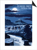 Wolves and Full Moon - Petrified Forest National Park Art by  Lantern Press