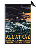 Alcatraz Island Night Scene - San Francisco, CA Prints by  Lantern Press