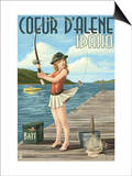 Coeur D'Alene, Idaho - Fishing Pinup Girl Posters by  Lantern Press