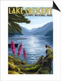Olympic National Park, Washington - Lake Crescent Art by  Lantern Press
