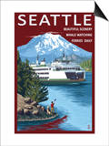 Ferry & Mount Rainier Scene - Seattle, Washington Posters
