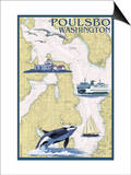 Poulsbo, Washington - Nautical Chart Prints by  Lantern Press