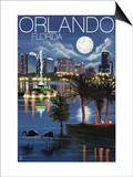 Orlando, Florida - Skyline at Night Prints by  Lantern Press