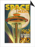 Space Needle and Full Moon - Seattle, WA Prints by  Lantern Press