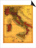 Italy - Panoramic Map Posters by  Lantern Press