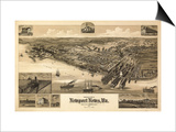 Newport News, Virginia - Panoramic Map Prints by  Lantern Press