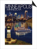 Minneapolis, Minnesota - Skyline at Night Art by  Lantern Press