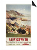 Aberystwyth, England - Aerial of Coast British Railways Poster Posters by  Lantern Press