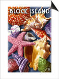 Block Island, Rhode Island - Shells Montage Prints by  Lantern Press