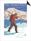 Skier Carrying Snow Skis, Montana Prints by  Lantern Press