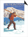 Skier Carrying Snow Skis, Montana Prints