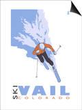 Vail, CO - Stylized Skier Prints by  Lantern Press
