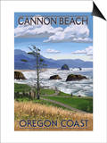 Cannon Beach, or - Oregon Coast View Poster by  Lantern Press