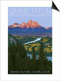 Grand Teton National Park - Snake River Overlook Print by  Lantern Press