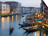 Outlook from Ponte Di Rialto Along Grand Canal at Dusk Prints by David Tomlinson
