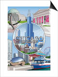 Chicago, Illinois - The Windy City Scenes Art by  Lantern Press