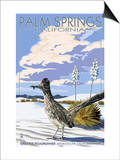 Palm Springs, California - Roadrunner Scene Poster par  Lantern Press