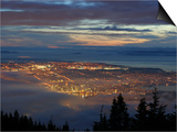 City from Grouse Mountain at Sunset, North Vancouver, Vancouver, Canada Prints by Lawrence Worcester