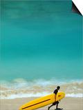 Boy with Yellow Surfboard at Waikiki Beach Prints by Ann Cecil